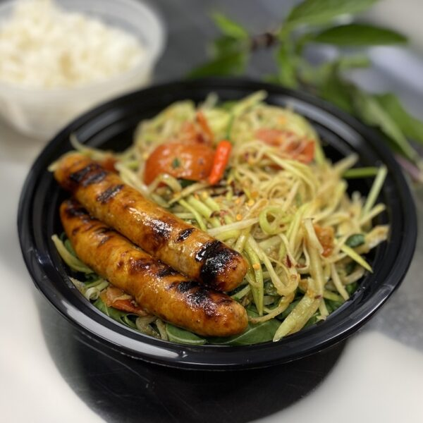 PAPAYA SALAD WITH CURRY CHICKEN SAUSAGES